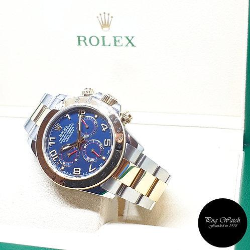 Rolex Oyster Perpetual 18K Half Gold Blue Arabic Cosmograph Daytona REF: 116523