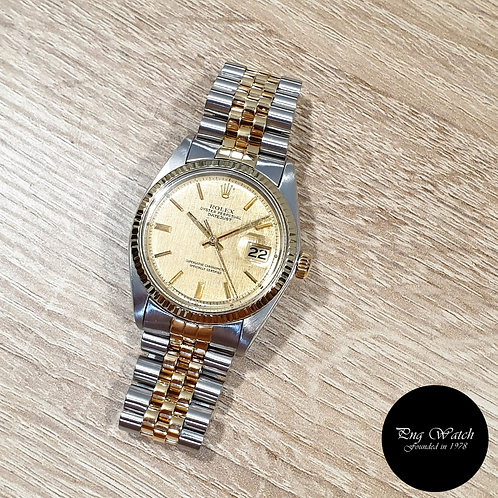 Rolex Oyster Perpetual Half Gold Textured Datejust REF: 1601 (2)