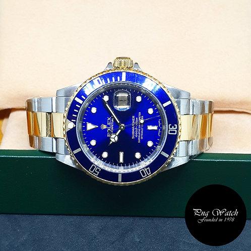 Rolex Oyster Perpetual 18K Half Gold Blue Submariner REF: 16613