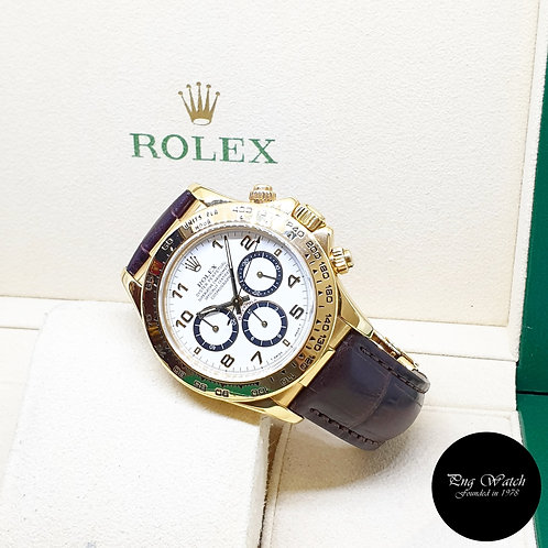 "Rolex 18K Yellow Gold Zenith Mvt ""Inverted 6"" White Arabic Daytona 16518"