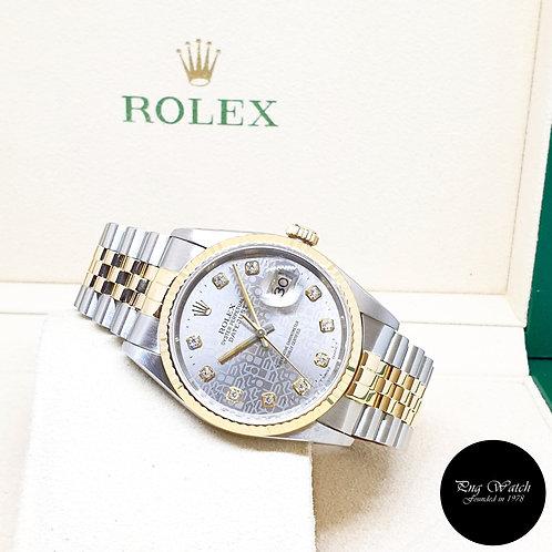 Rolex Oyster Perpetual 18K Half Gold Grey Computer Diamonds Datejust REF: 16233