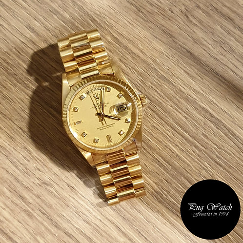 Rolex 18K Yellow Gold Vignette Diamonds Day-Date REF: 18038 (2)