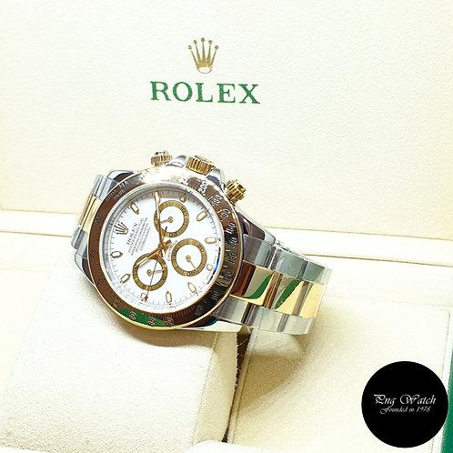 Rolex Oyster Perpetual 18K Half Gold White Daytona REF: 116523 (Y Series)