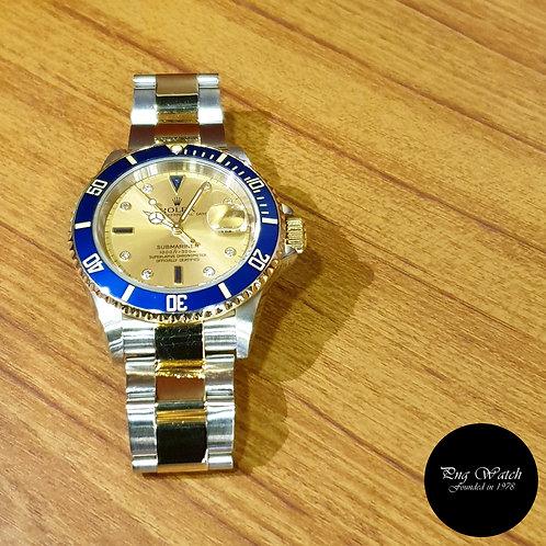 Rolex 18K Half Gold Champagne Serti Diamonds Submariner Date 16613 (2)