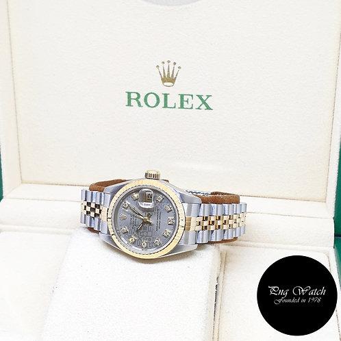 Rolex 18K Half Gold 26mm Ladies Grey Computer Diamonds Datejust 69173