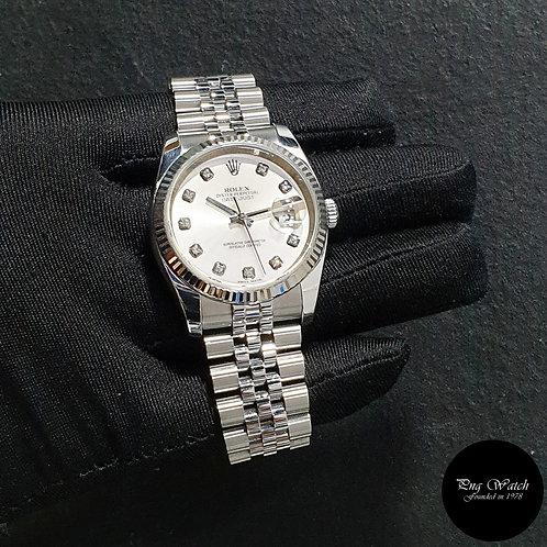 Rolex Oyster Perpetual Silver 10PT Big Diamonds 36mm Datejust REF: 116234 (2011)