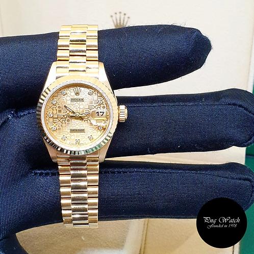 Rolex 18K Yellow Gold 26mm Ladies Champagne Computer Dia Datejust REF: 69178 (2)