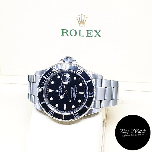 Rolex Oyster Perpetual Black Submariner Date REF: 16610 (Rehaut Ring)