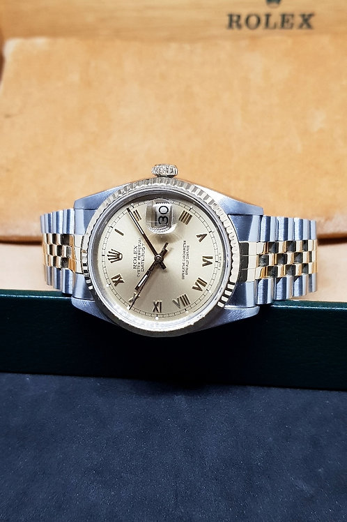 Rolex Oyster Perpetual Champagne Roman Datejust REF: 16233