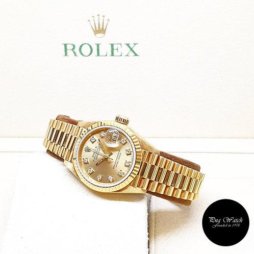 "Rolex 18K Yellow Gold 26mm Champagne Vignette Diamonds ""QUEEN"" Datejust 69178"