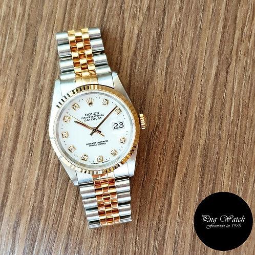 Rolex 18K Half Gold White Diamonds Datejust REF: 16233 (2)