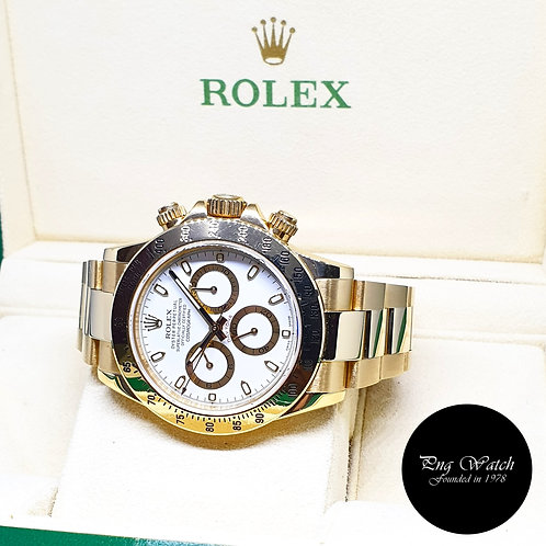 Rolex 18K Full Yellow Gold White Indexes Cosmograph Daytona REF: 116528