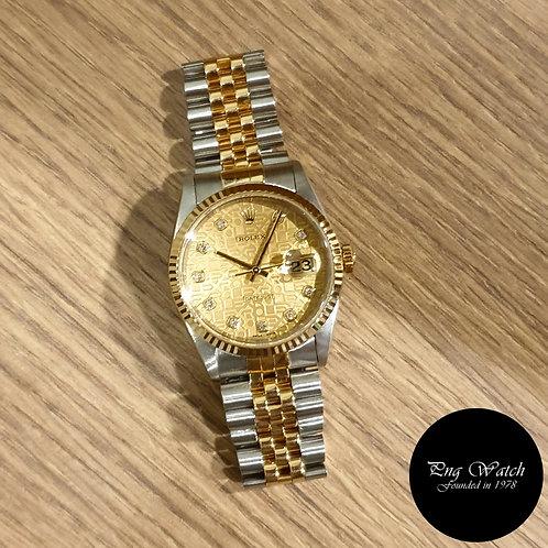 Rolex 18K Half Gold Champagne Computer Diamonds Datejust REF: 16233 (2)