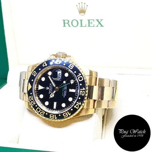 Rolex 18K Yellow Gold Black GMT Master 2 REF: 116718LN