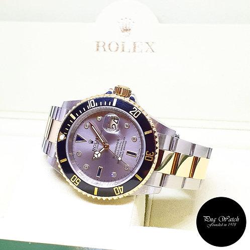 Rolex OP 18K Half Gold Grey Serti Diamonds Submariner Date REF: 16613