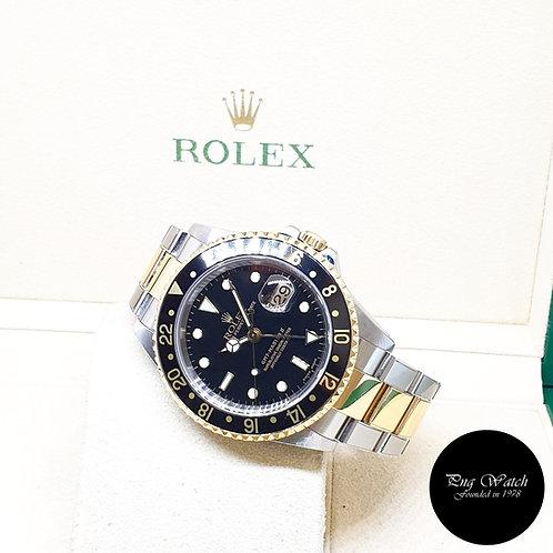 Rolex 40mm Discontinued 18K Half Gold Black GMT Master 2 REF: 16713 (P Series)