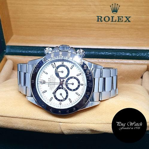 """Rolex OP Tritium White Stainless Steel Cosmograph """"Zenith"""" Daytona REF: 16520"""