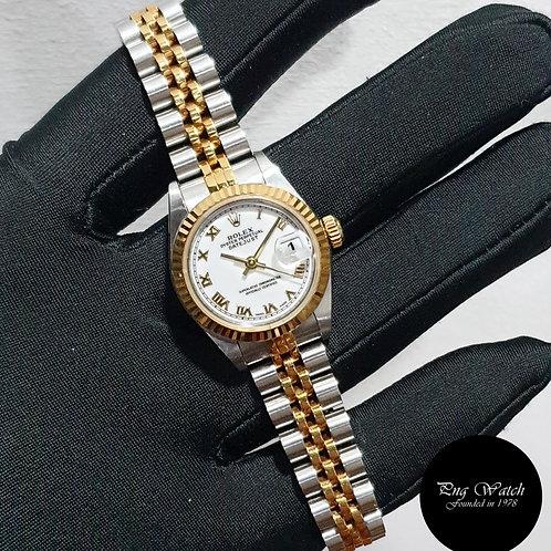 Rolex 18K Half Gold 26mm Ladies White Roman Datejust REF: 69173 (U)(2)
