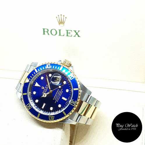 Rolex Oyster Perpetual 18K Half Yellow Gold Blue Submariner Date REF: 16613