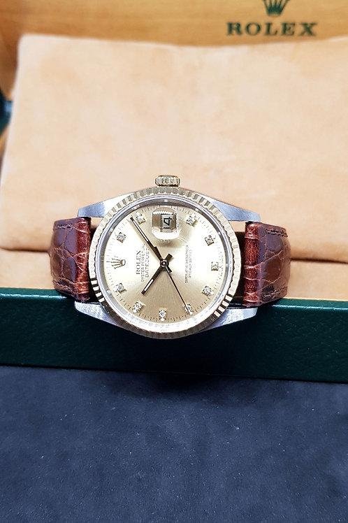 Rolex 18K Half Gold Champagne Diamonds Datejust in Leather Strap REF: 16233
