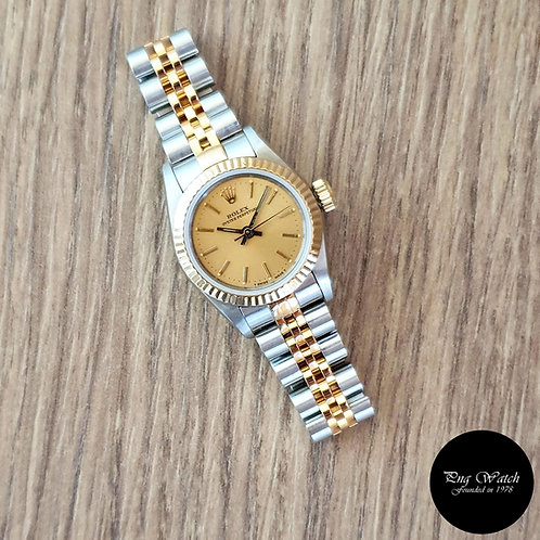 Rolex 18K Half Gold Champagne Ladies Oyster Perpetual REF: 67193 (2)