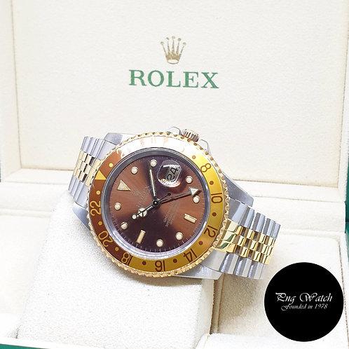"Rolex 18K Half Yellow Gold Tritium GMT Master 2 ""ROOTBEER"" REF: 16713"
