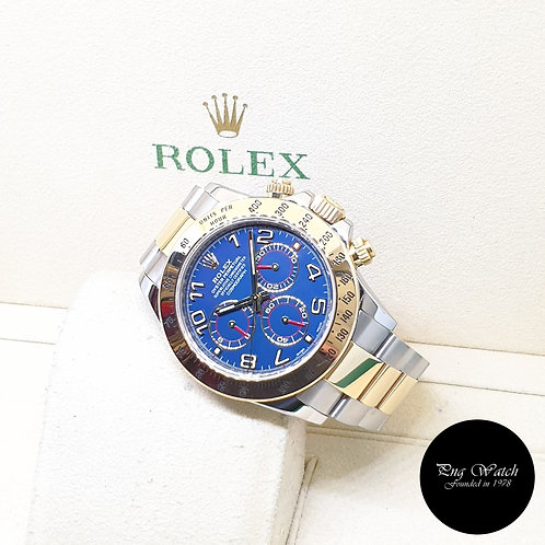 Rolex Oyster Perpetual 18K Half Gold Blue Arabic Daytona REF: 116523 (G Series)