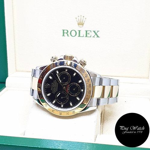 Rolex Oyster Perpetual 18K Half Gold Black Indexes Daytona REF: 116523 (F)