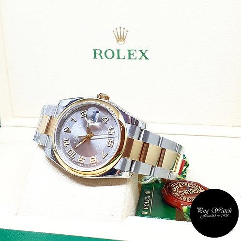 Rolex Oyster Perpetual 36mm 18K Half Gold Silver Arabic Datejust REF: 116203 (G)