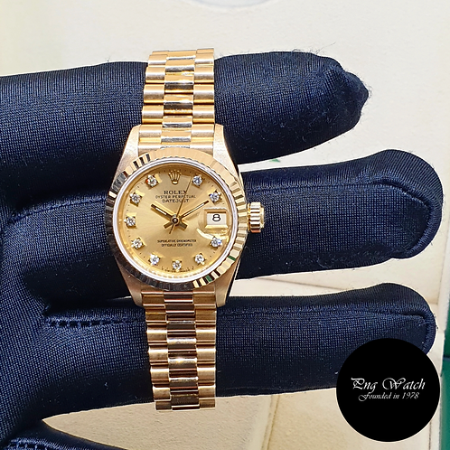 Rolex 18K Yellow Gold 26mm Ladies Champagne Vignette Diamonds 69178 (2)