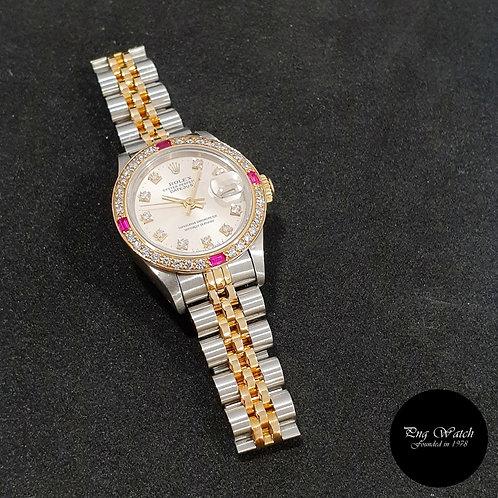Rolex OP 18K Half Gold 26mm Ladies Silver Vignette Diamonds Datejust (2)