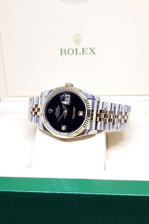 Rolex Oyster Perpetual 18K Half Gold Onyx Diamonds Datejust REF: 116233