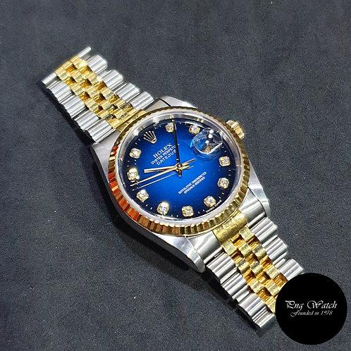 Rolex OP 18K Half Gold Blue Degrade Diamonds Datejust REF: 16233 (2)