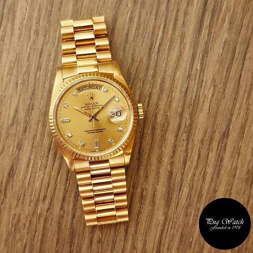 Rolex 18K Solid Yellow Gold Champagne Diamonds Day-Date REF: 18038(2)