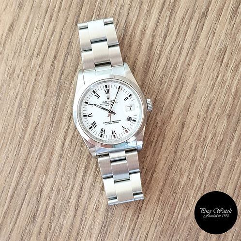 Rolex 34mm White Roman Oyster Perpetual Date REF: 15200 (2)