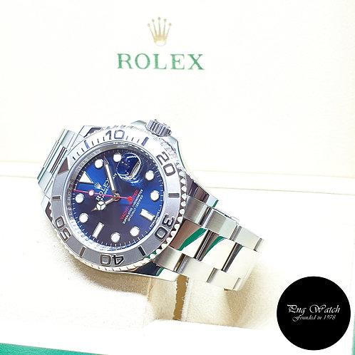 Rolex Oyster Perpetual Blue 40mm Platinum Bezel Yachtmaster REF: 116622 (2018)