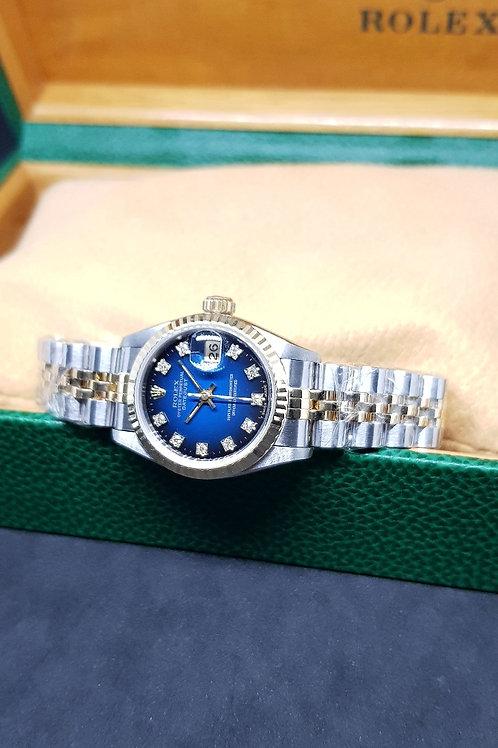 Rolex Oyster Perpetual 18K Half Gold Blue 10PT Diamonds Datejust REF: 69173