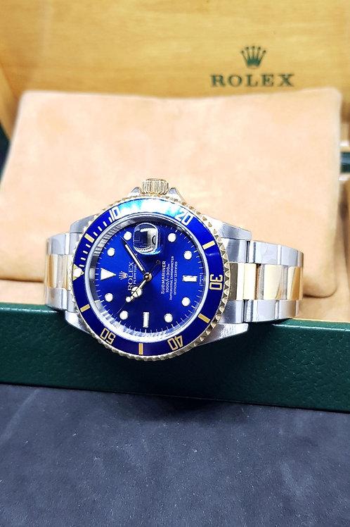 Rolex 18K Half Gold Blue Submariner REF: 16613