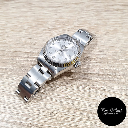 Rolex Oyster Perpetual 10PT Big Diamonds Silver Ladies Datejust REF: 79174 (2)