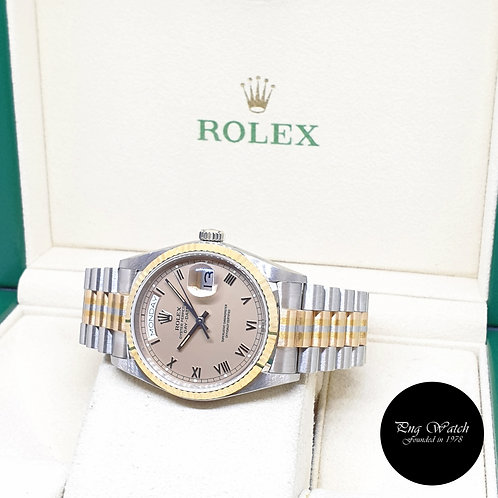 """Rolex Oyster Perpetual 18K Gold """"TRIDOR"""" Champagne Roman Day-Date REF: 18039BIC"""