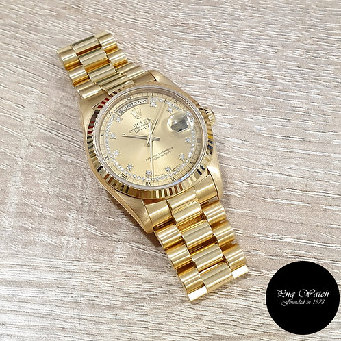 Rolex OP 18K Yellow Gold Champagne String Diamonds Day-Date REF: 18238 (2)