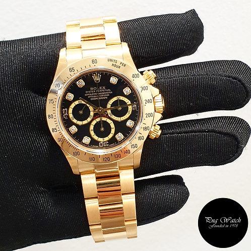 "Rolex 18K Yellow Gold Zenith ""Inverted 6"" Black Diamonds Daytona REF: 16528 (2)"