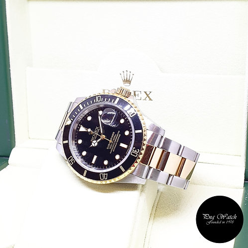 Rolex OP Tritium 18K Half Gold Black Submariner Date REF: 16613 (X)