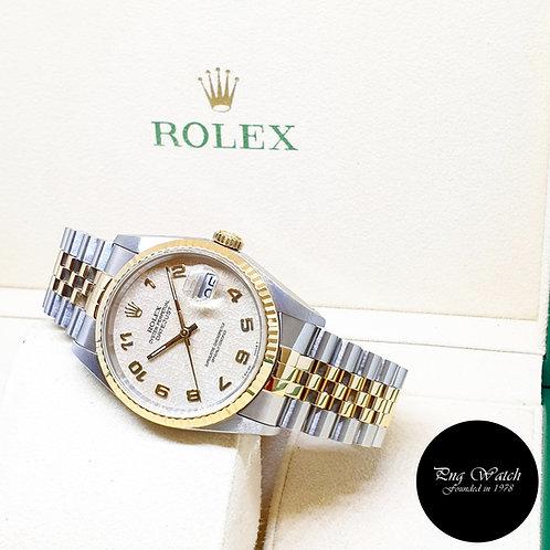Rolex Oyster Perpetual 18K Half Gold Cream Arabic Datejust REF: 16233 (X)