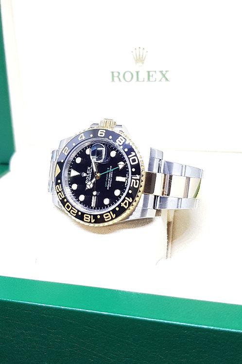 Rolex 18K Half Gold Black Ceramic GMT Master 2 REF: 116713LN (Blue Lume)