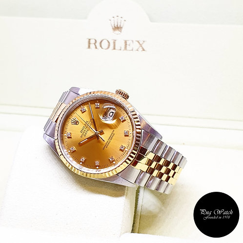 Rolex 18K Half Gold Champagne Vignette Diamonds Datejust REF: 16233