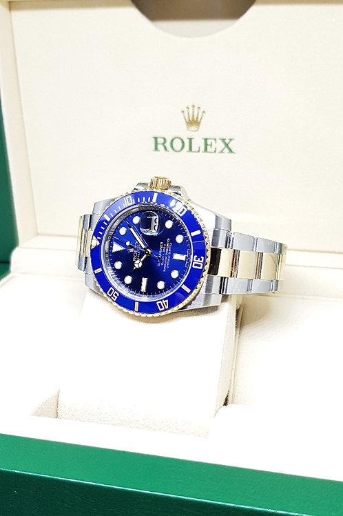 Rolex 18K Half Gold Sunburst Blue Submariner REF: 116613LB