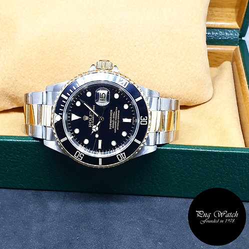 "Rolex Oyster Perpetual 18K Half Gold ""Swiss Dial"" Black Submariner REF: 16613"