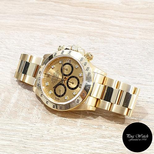 "Rolex OP 18K Yellow Gold ""Zenith Mvt"" Champagne Diamonds Daytona REF: 16528 (2)"