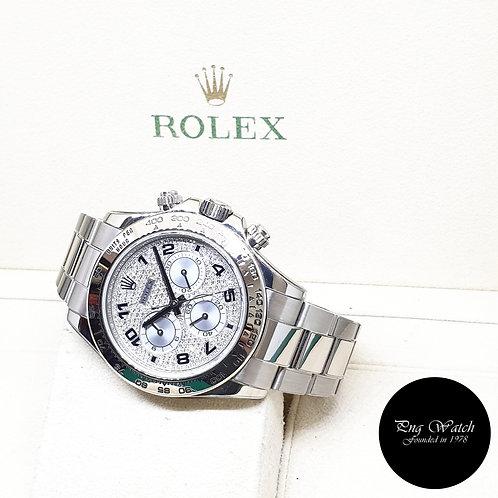Rolex Oyster Perpetual 18K White Gold Pave Diamonds Daytona REF: 116509 (Z)